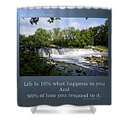 Life Is Staying Above The Debris Shower Curtain
