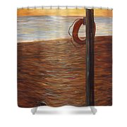 Life Ring At Sunset Shower Curtain