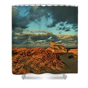 Life Saving Station Museum At Race Point Shower Curtain
