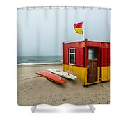 Lifeguard Station At Brittas Bay In Ireland Shower Curtain