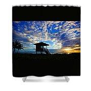 Lifeguard Station Sunrise Shower Curtain