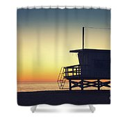 Lifeguard Tower At Sunset Shower Curtain