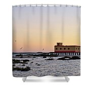 Lifesavers Building And Birds In Fuzeta. Portugal Shower Curtain