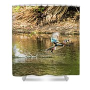 Liftoff In A Blur Of Color Shower Curtain