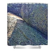 Light And Lichen On Eroded Basalt Shower Curtain