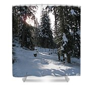 Light And Shadow On A Snowy Landscape Shower Curtain