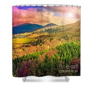 Light  Beam Falls On Hillside With Autumn Forest In Mountain Shower Curtain