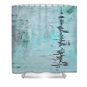 Light Blue Gray Abstract Shower Curtain