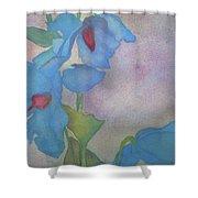 Light Blue Poppies Shower Curtain
