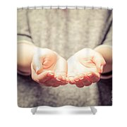 Light In Young Woman's Hands Shower Curtain