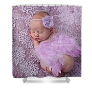 Light Lavender Feather Wings With Flower Headband Shower Curtain