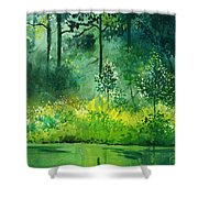 Light N Greens Shower Curtain
