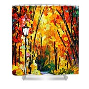 Light Of The Forest - Palette Knife Oil Painting On Canvas By Leonid Afremov Shower Curtain