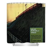 Light Power Speed - London Underground, London Metro - Retro Travel Poster - Vintage Poster Shower Curtain