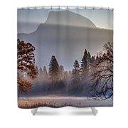 Light Rays In Yosemite Ground Fog Shower Curtain