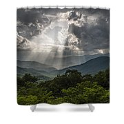 Light Show Before The Storm. Shower Curtain by Itai Minovitz