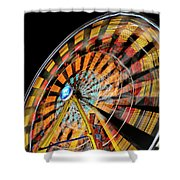 Light Streaks From The Spinning Ferris Wheel And Swing At Night  Shower Curtain