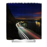 Light Trails On Highway 99 Shower Curtain