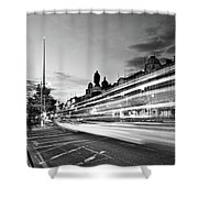 Light Trails On O'connell Street At Night - Dublin Shower Curtain