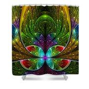 Lighted Flower Fractal Shower Curtain