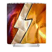 Lightening Bolt Abstract Posterized Shower Curtain