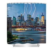 Lightening Striking Manhattan Shower Curtain