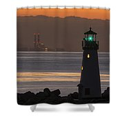 Lighthouse And Power Plant At Dawn Shower Curtain