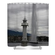 Lighthouse And Fountain Shower Curtain
