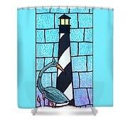 Lighthouse And Heron Shower Curtain