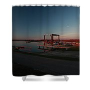 Lighthouse And Marina At Hecla In Manitoba Shower Curtain