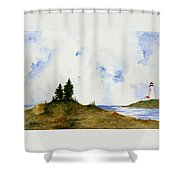 Lighthouse And Pine Trees Shower Curtain