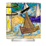 Lighthouse And Sailboats Shower Curtain