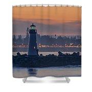 Lighthouse And Wharf At Dusk Shower Curtain
