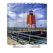 Lighthouse At Charlevoix South Pier  Shower Curtain