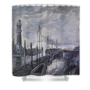 Lighthouse At Low Tide Shower Curtain