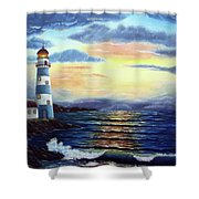 Lighthouse At Sunset Shower Curtain