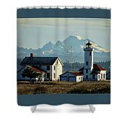 Lighthouse Before Mountain Shower Curtain