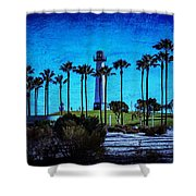 Lighthouse, Blue Lb Shower Curtain