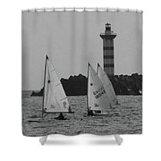 Lighthouse Boats Shower Curtain