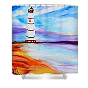 Lighthouse By The Sea Shower Curtain