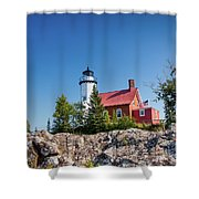Lighthouse Eagle Harbor Lake Superior -6533 Shower Curtain