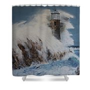 Lighthouse In A Storm Shower Curtain by David Hawkes