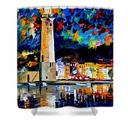 Lighthouse In Crete - Palette Knife Oil Painting On Canvas By Leonid Afremov Shower Curtain