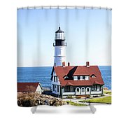 Lighthouse In Maine Shower Curtain