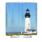 Lighthouse In Nice Weather. Shower Curtain