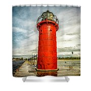 Lighthouse In South Haven Shower Curtain