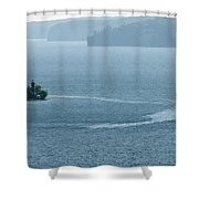 Lighthouse In The Bay Shower Curtain