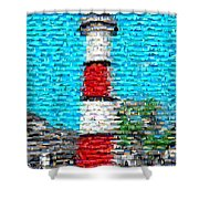Lighthouse Made Of Lighthouses Mosaic Shower Curtain