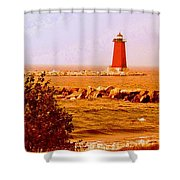 Lighthouse Manistique Retro Pano Shower Curtain