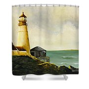 Lighthouse In Oil Shower Curtain